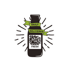 Farm fresh milk bottle with green ribbon vector