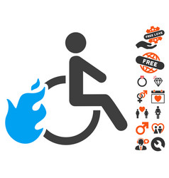 Fired disabled person icon with love bonus vector