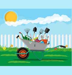 Gardening tools set equipment for garden vector