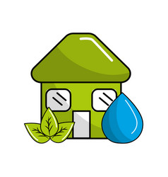 Green house with leaves and water drop vector