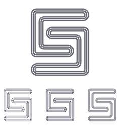 Grey line s logo design set vector
