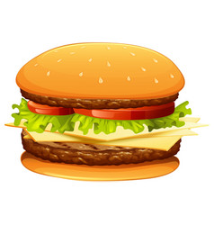 hamburger with meat and cheese vector image vector image