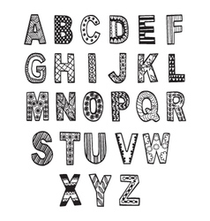 Hand drawn font in doodle style letters set vector