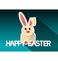 Happy easter card with bunny - rabit on retro vector