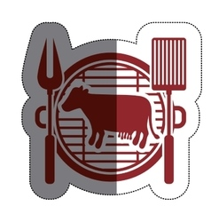 Isolated grill and cow meat design vector