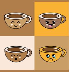 Kawaii faces coffee cup icon vector
