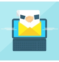 laptop with envelope handshake vector image