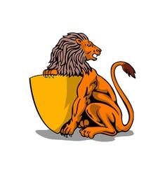 Lion shield retro vector