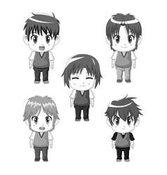 Monochrome set silhouette full body cute anime vector