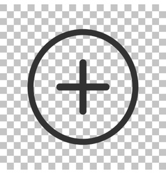 Positive symbol plus sign dark gray icon on vector