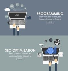 programming and seo optimization vector image vector image