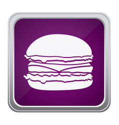 Purple emblem humburger icon vector