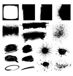 Set Black Grunge Design Element vector image