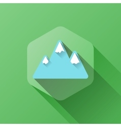 Simple of mountains icon in flat vector