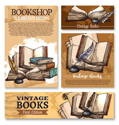 sketch poster for old vintage books library vector image