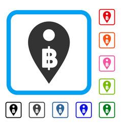 Thai baht map marker framed icon vector