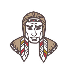 Tribe with feathers in hair vector