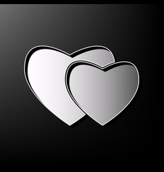 two hearts sign gray 3d printed icon on vector image vector image
