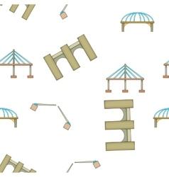Types of bridges pattern cartoon style vector