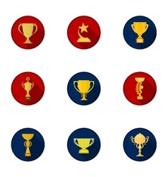 Winner cup set icons in cartoon style big vector