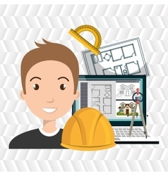 Architect laptop tools job vector