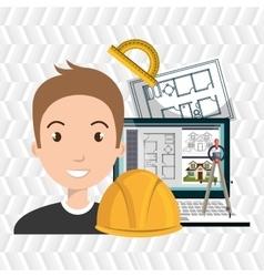 architect laptop tools job vector image