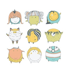 Set of cute colorful monsters hand drawn in doodle vector