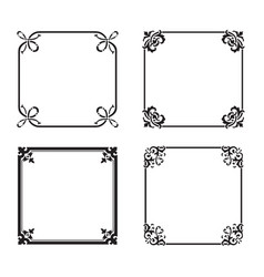 Decorative square ornate design elements vector