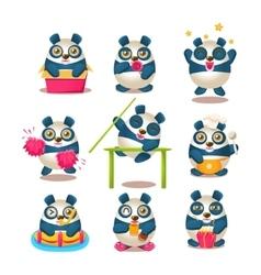 Cute Panda Emoji Collection With Humanized Cartoon vector image