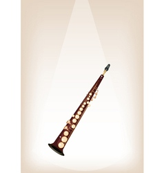 A musical soprano saxophone on stage background vector