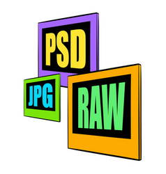 Psd jpg raw file icon cartoon vector