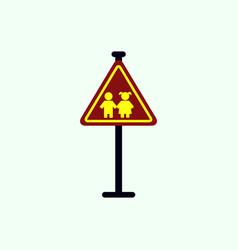 School warning road sign kids road symbol vector
