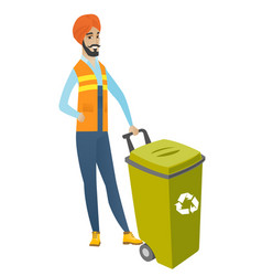 Young hindu builder pushing recycle bin vector