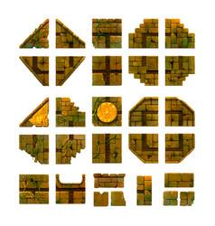 Cartoon ancient bricks game art isolated on white vector