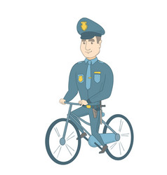 Young caucasian police officer on bicycle vector