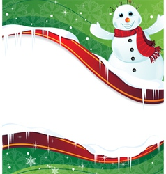 Winter background with a happy snowman in red vector
