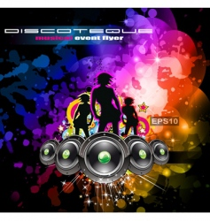 Disco flyer girls vector