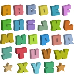 3d graffiti blocky color fonts alphabet over white vector