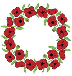 Poppy seeds flowers wreath vector