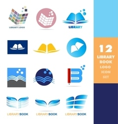Library book logo icon set vector