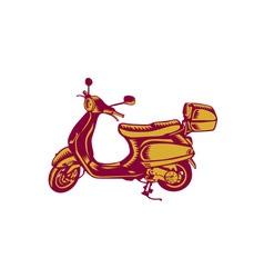 Scooter Bike Side Vintage Woodcut vector image