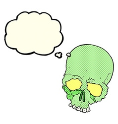 Cartoon spooky old skull with thought bubble vector