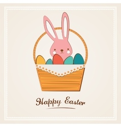 Easter bunny with easter basket full of easter vector