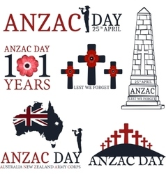 Anzac day Greeting set vector image