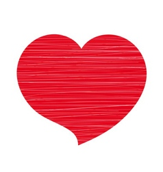 Red heart lines white vector image