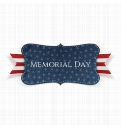 Memorial day textile label and ribbon vector