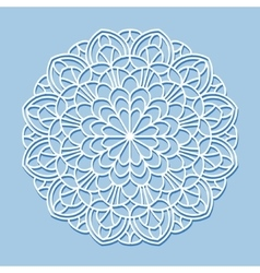 Mandala white lace ornament vector