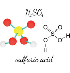 H2so4 sulfuric acid molecule vector