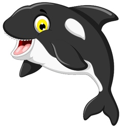 Funny killer whale cartoon jumping vector