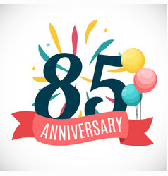 Anniversary 85 years template with ribbon vector